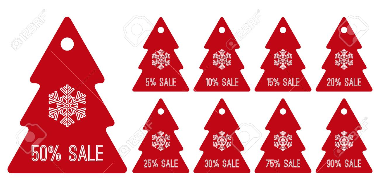 Winter Sale Shopping Tag Symbols Red Christmas Trees Royalty Free