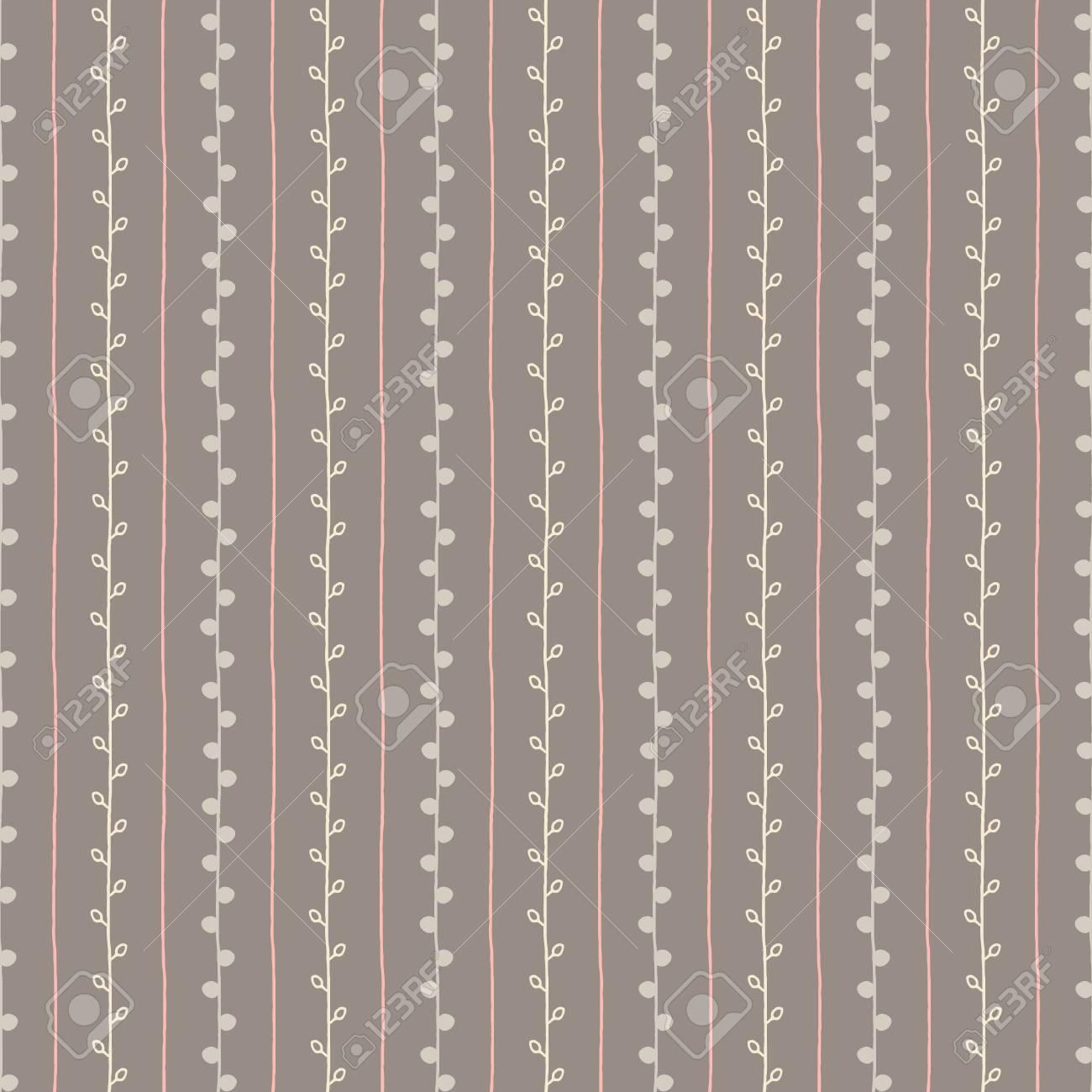 Modello Vettoriale Schizzo Senza Soluzione Di Continuità Sfondo Grigio Rosa E Bianco Ramoscello Struttura Del Ramo Disegnato A Mano