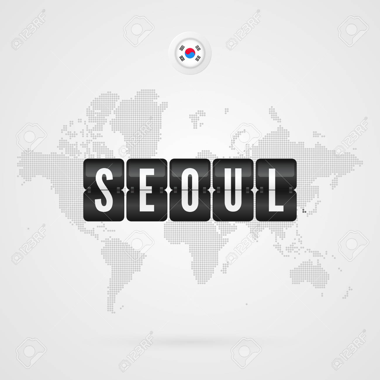Seoul Scoreboard South Korea Flag Icon Vector World Map