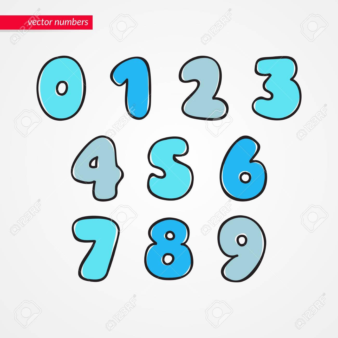 Sketch Numbers Decorative Funny Isolated 0 1 2 3 4 5 6 7 8 9