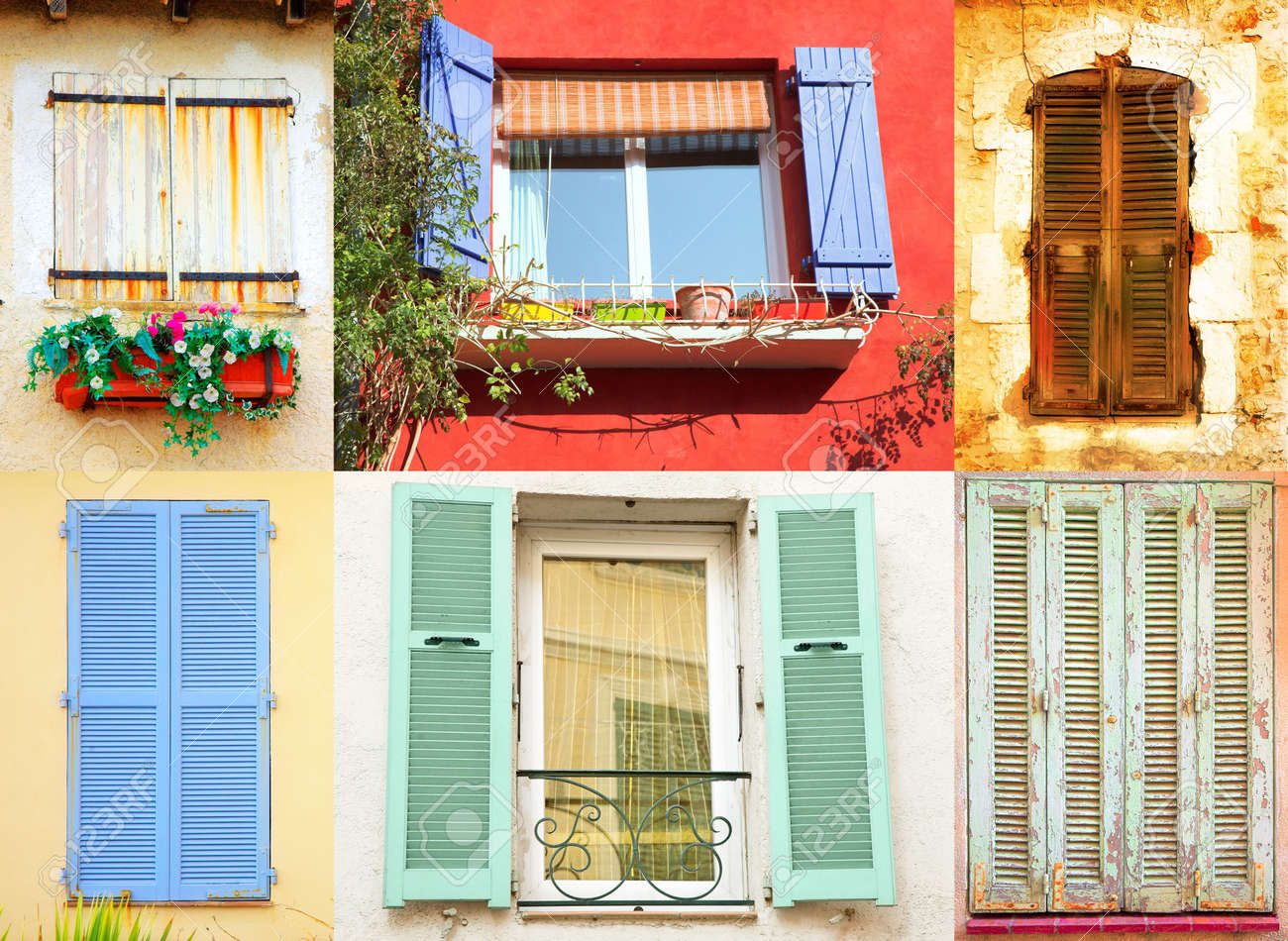 Traditional French Windows Collection With Wooden Shutters In