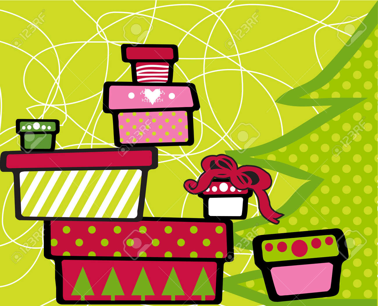 Gift Christmas boxes stacked on top of each other on festive green background Stock Photo - 2139018