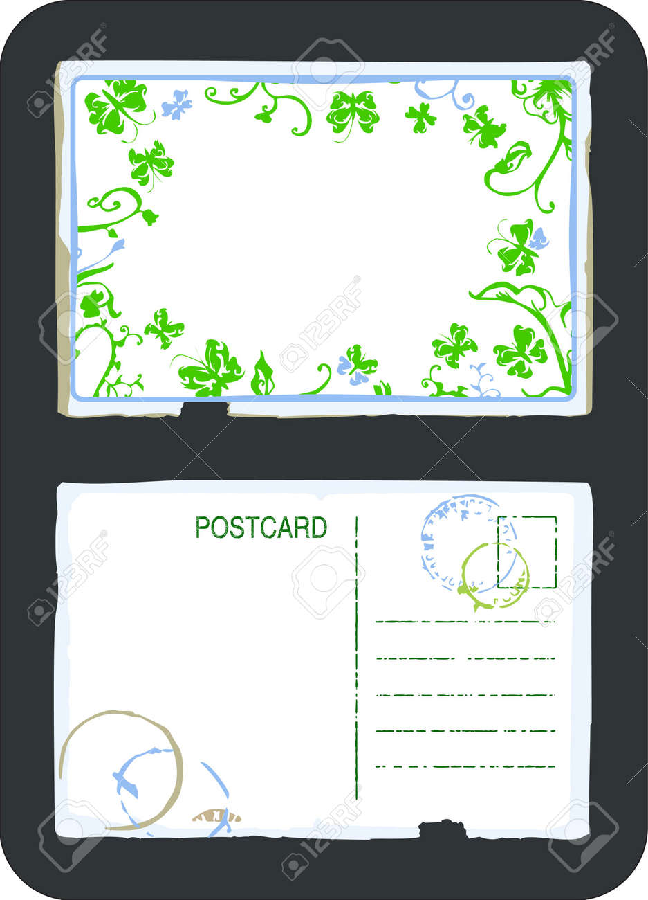 Vintage Green Floral Swirls And Butterfly Postcard Front And