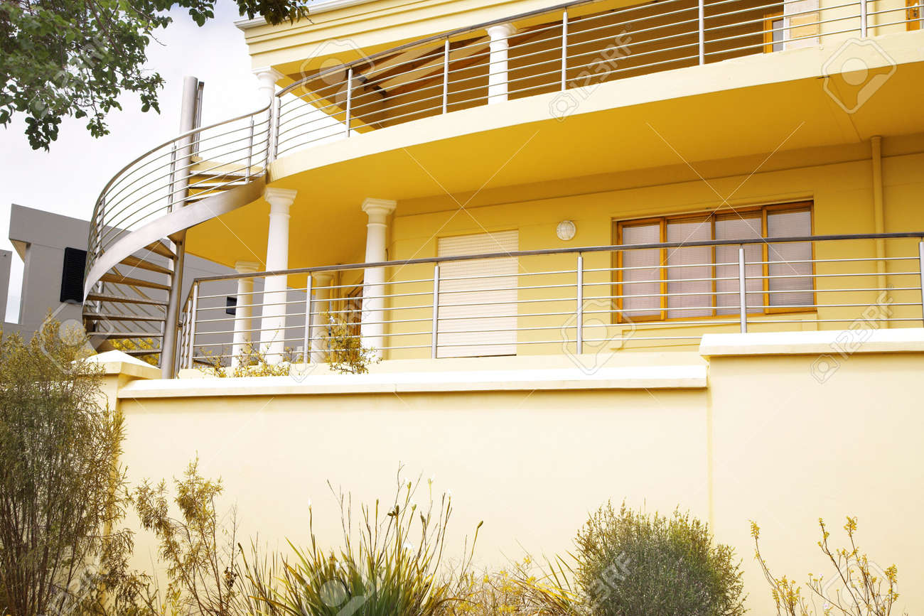 modern yellow house