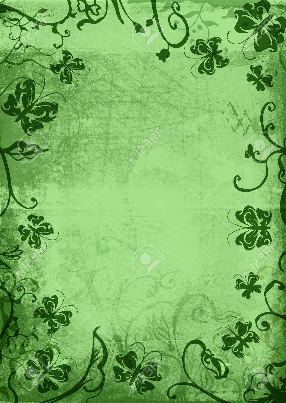 Grunge Página De Papel Con Textura De Las Flores, Las Fronteras Con ...