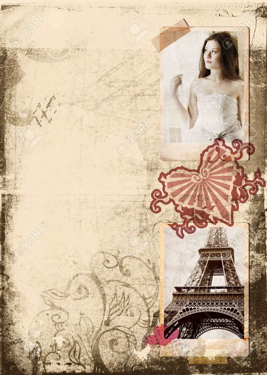Grunge album page with vintage photos of beautiful bride and Eiffel Tower, heart seal Stock Photo - 2593069
