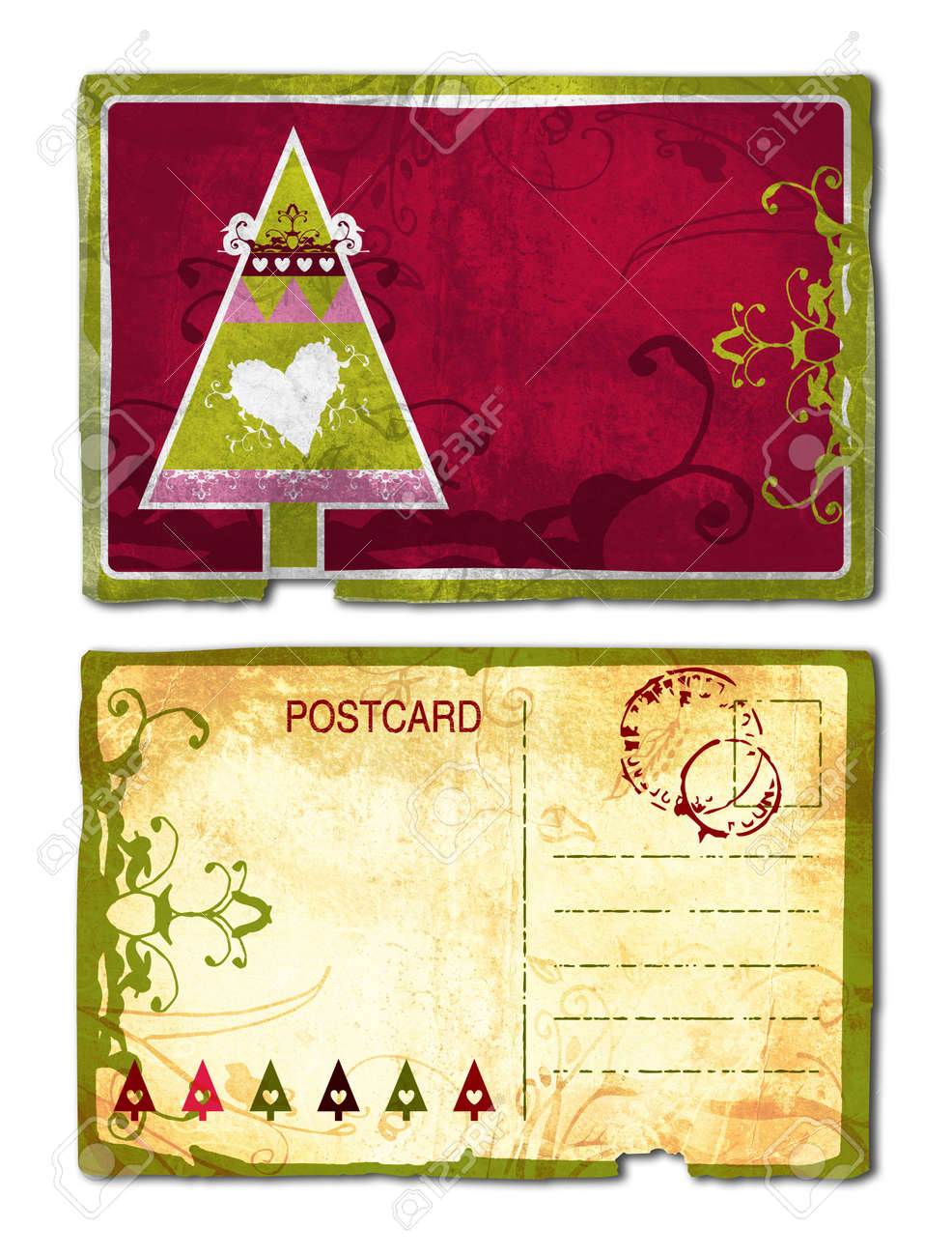 Grunge Postcard Front And Back With Christmas Tree And Heart