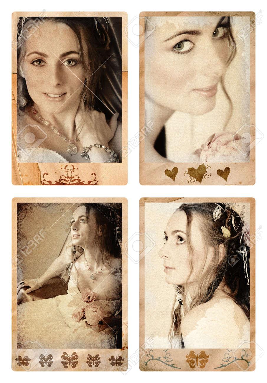 Grunge Fotorahmen Mit Braut Im Vintage-Finish Ð Perfecty Augen Sind ...