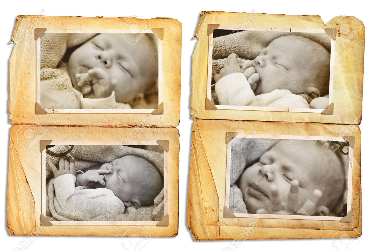 Grunge album pages with sepia pictures of a sleeping newborn baby, clip path incl Stock Photo - 4128760