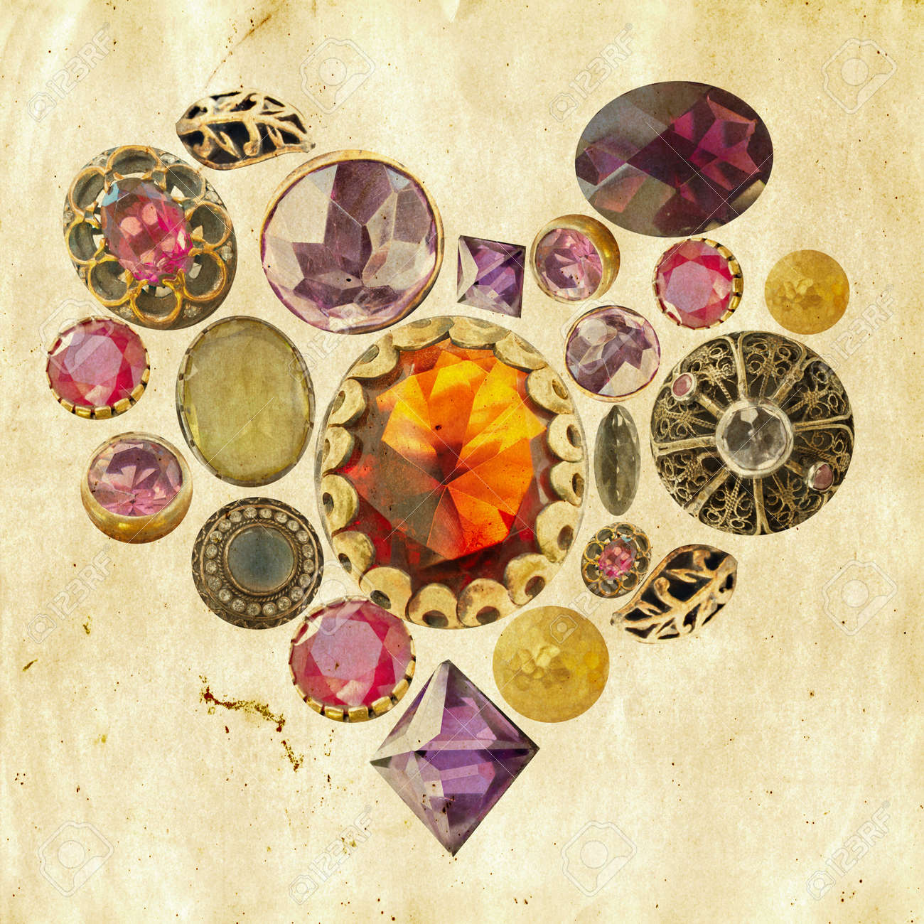 gems and precious stones arranged in heart shape on grunge paper background Stock Photo - 8744667