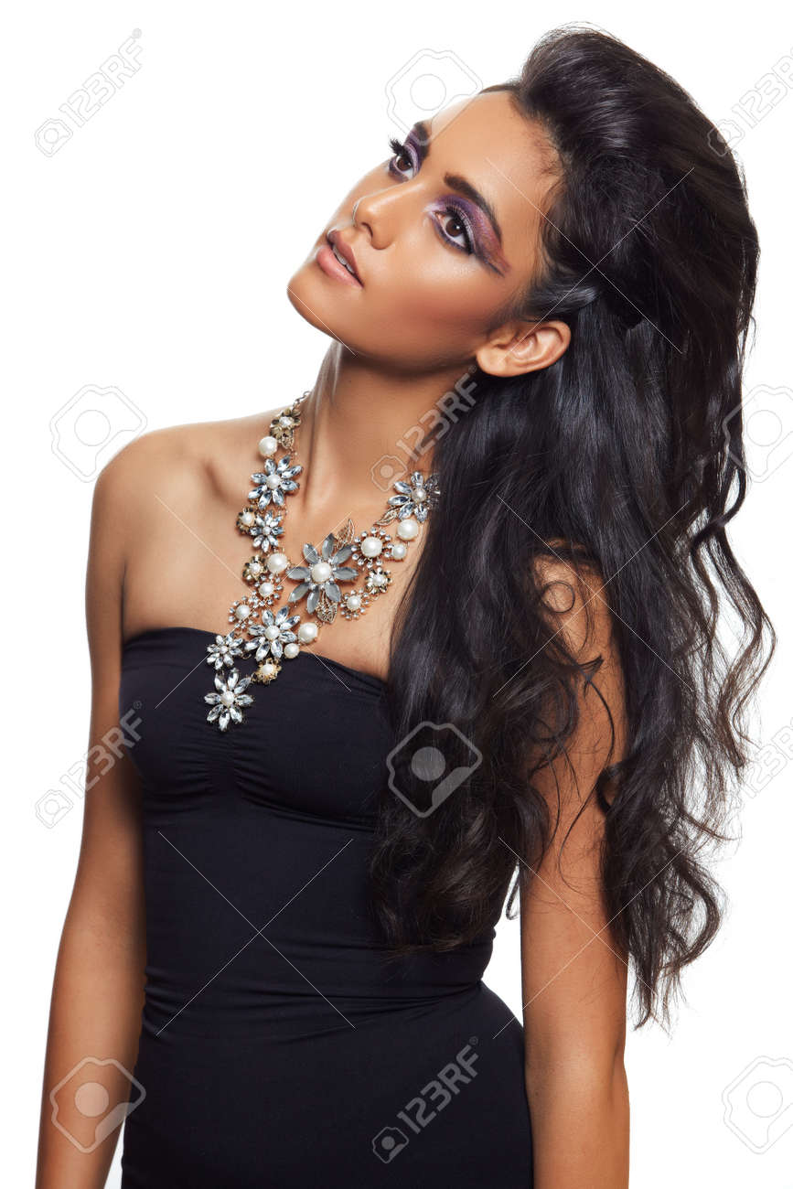 Beautiful Indian Woman In Evening Dress Stock Photo Picture And