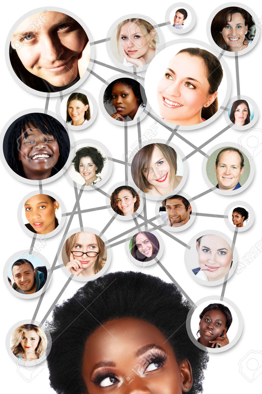 African young woman with her social network friends and business partners in a diagram Stock Photo - 9156620