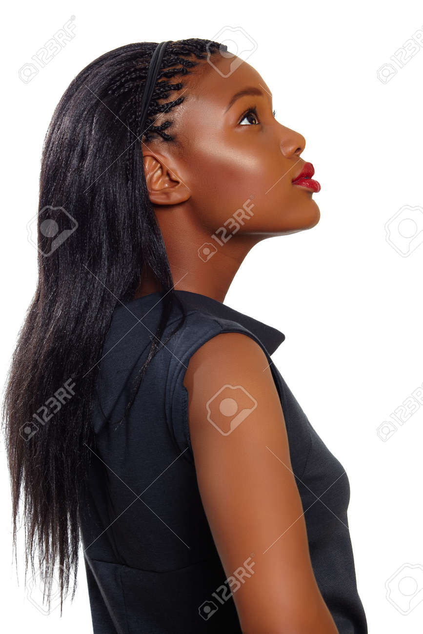 African American business woman looking up in profile over white background Stock Photo - 10012258