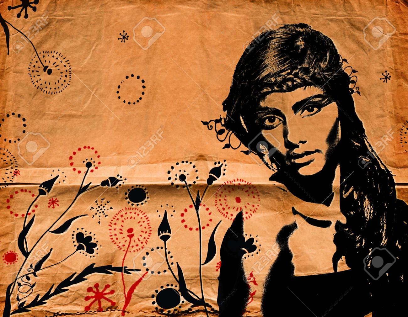 Graffiti Mode Illustratie Van Een Mooie Vrouw Met Lang Haar Op ...