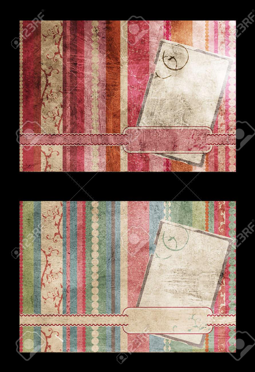 Vintage postcards collage with pink and blue pastel colours on striped grunge background with swirls and blank label for text . Stock Photo - 10811807