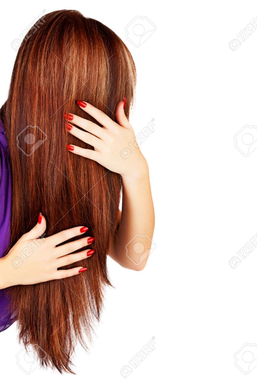 Rückseite Des Kopfes Der Jungen Frau Mit Langen Braunen Haaren Mit