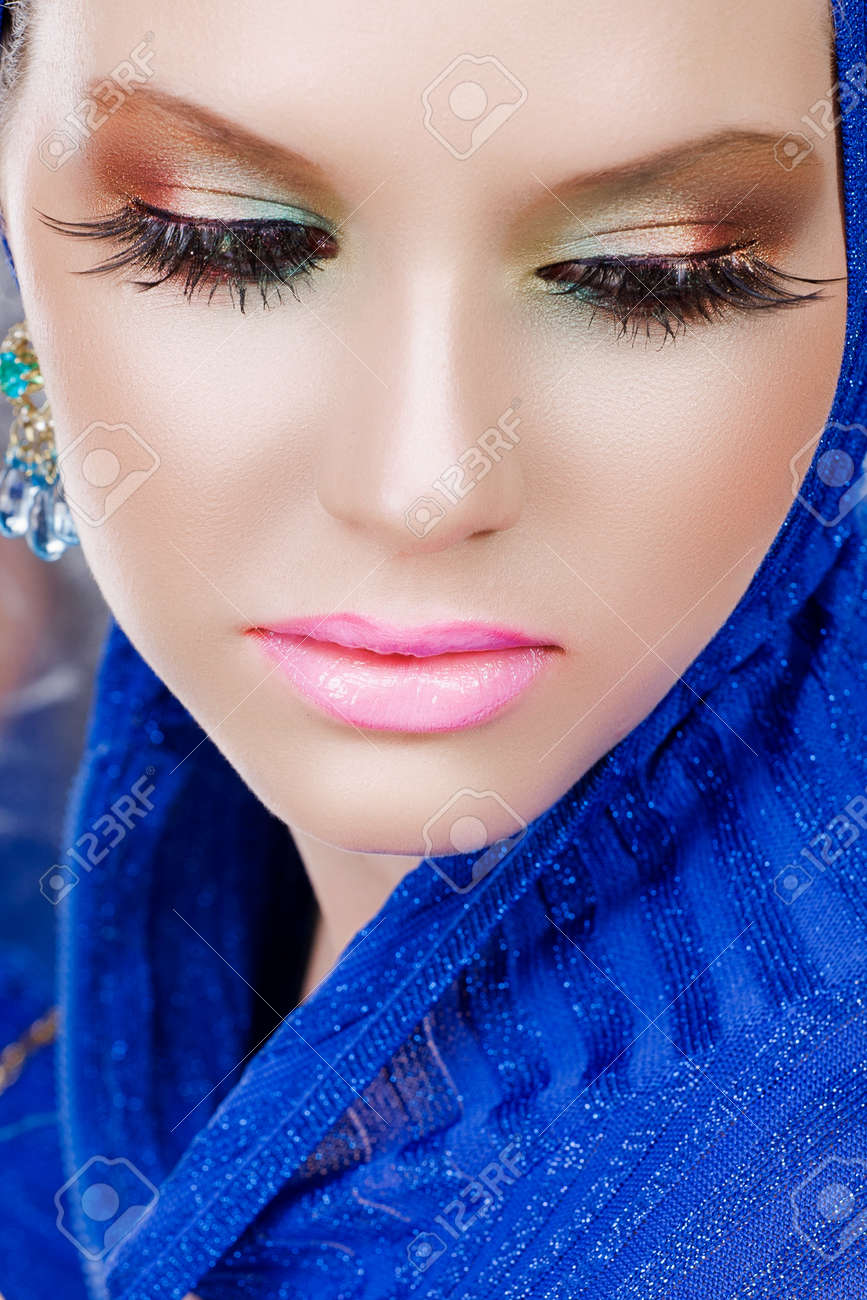 Portrait Of A Beautiful Woman With Long False Feather Eyelashes ...