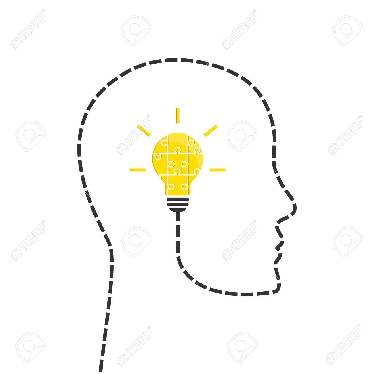 Idée De Photo De Profil idée concept avec ligne de profil et ampoule faite de pièces de puzzle  lumineux