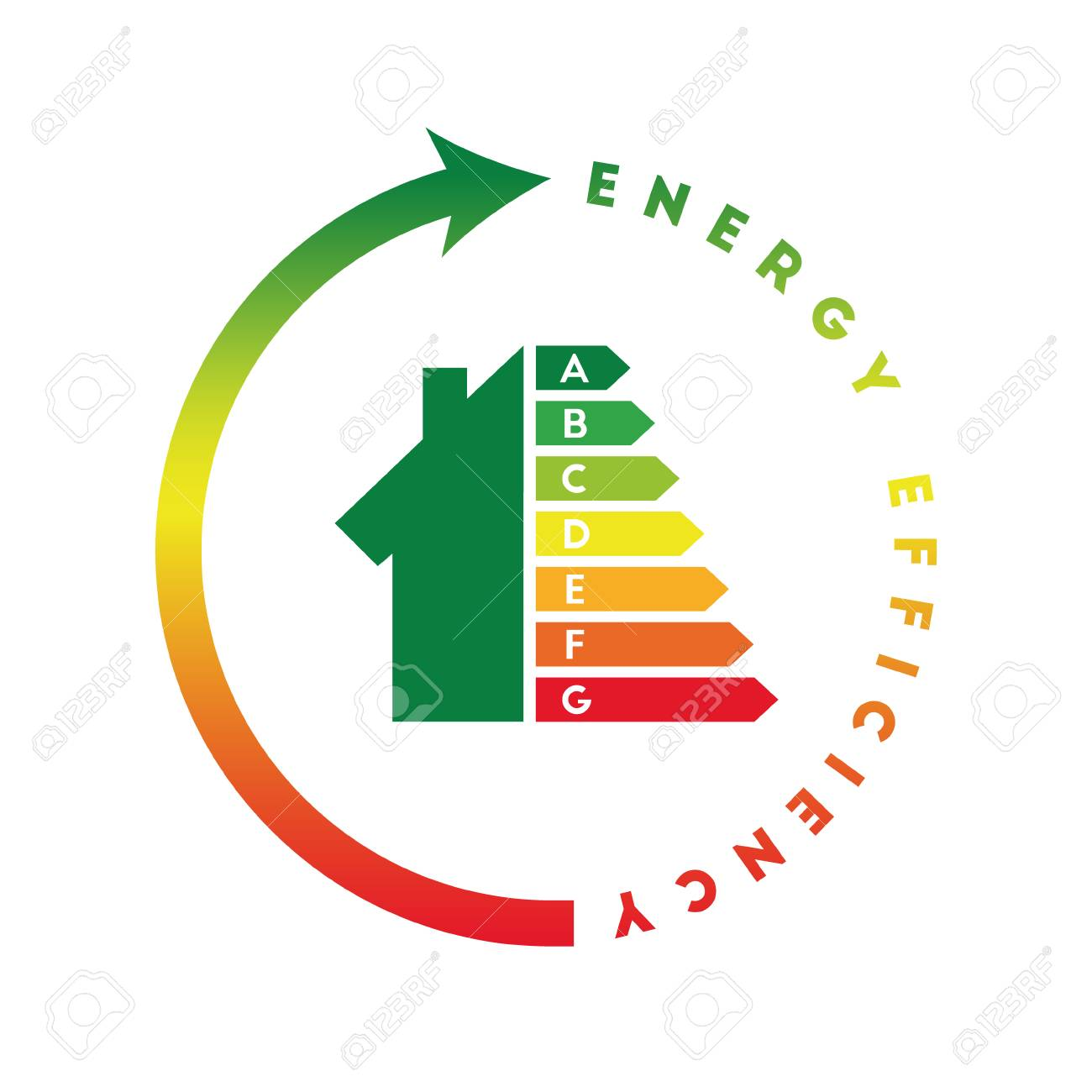 Energy Efficiency Class Concept With House And Consumption Bar Stock Vector    76501481