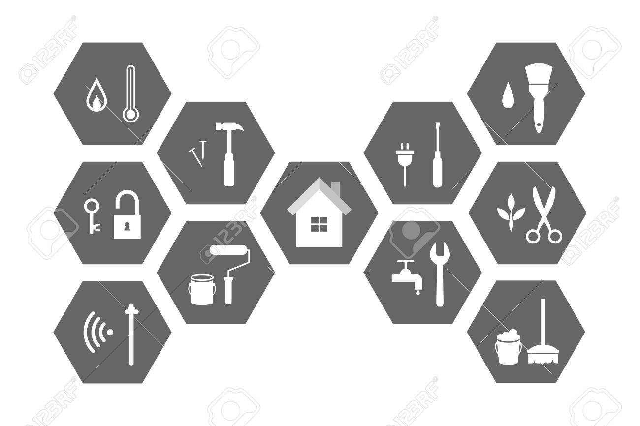 Facilities management concept with building and working tools. Extensive icon set and illustration. - 103006219