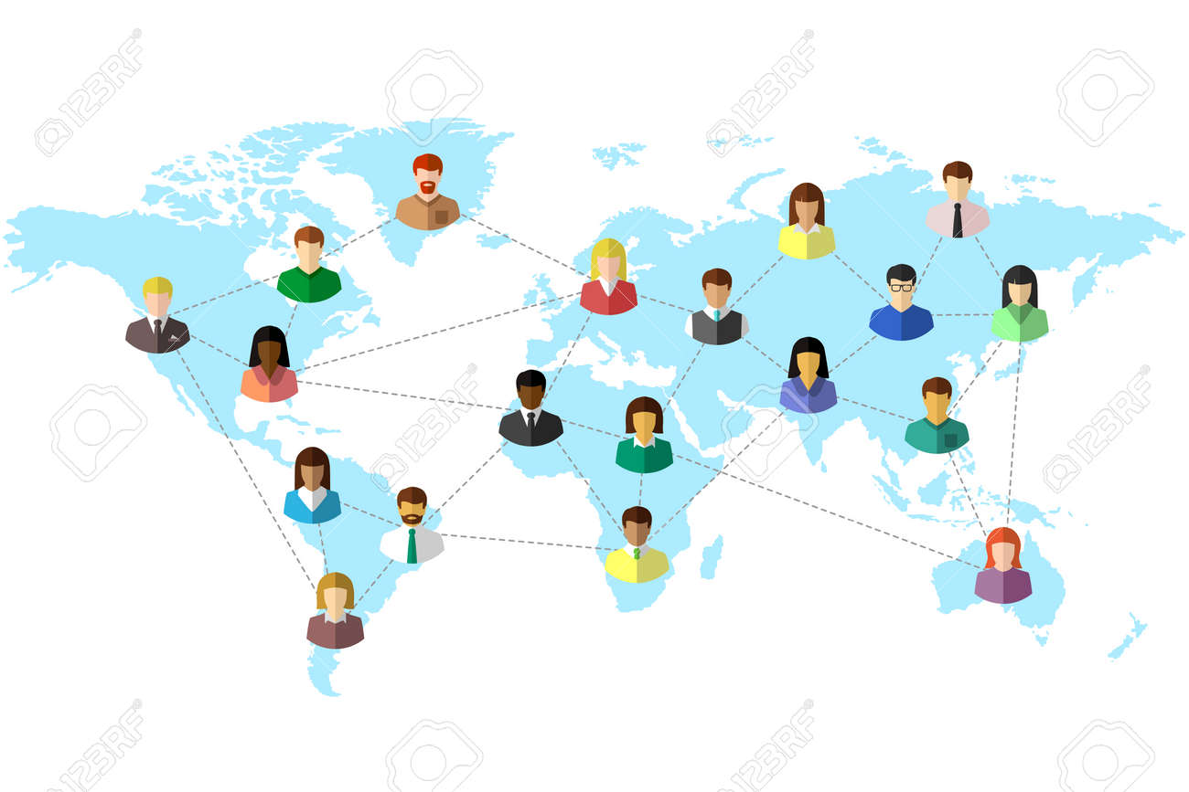 Diverse people and world map concept with dotted line as global connection symbol. Colorful flat design on white background. - 145714396