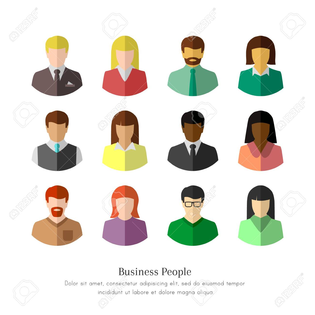 Diverse business people in flat design. Isolated icon set on white background. - 145714362