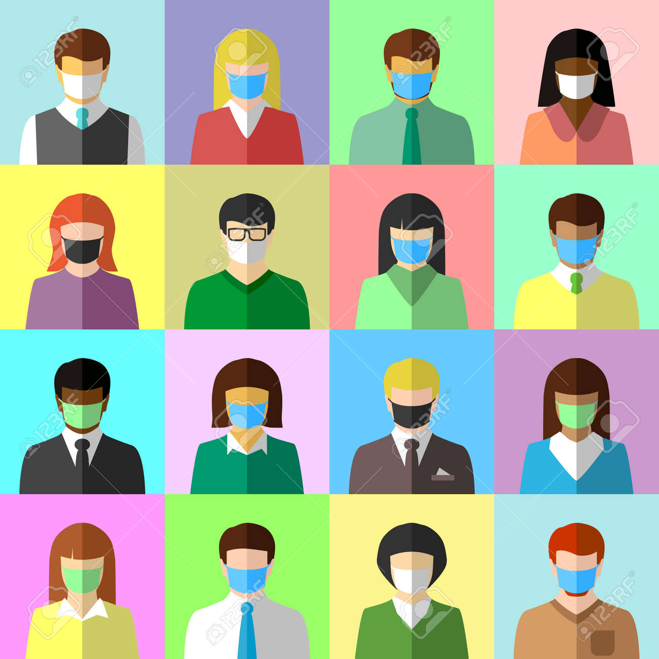 Collage of ethnically diverse people wearing face masks. Diversity, COVID-19, pandemic and face mask concept. Flat design, icon set. - 169043365