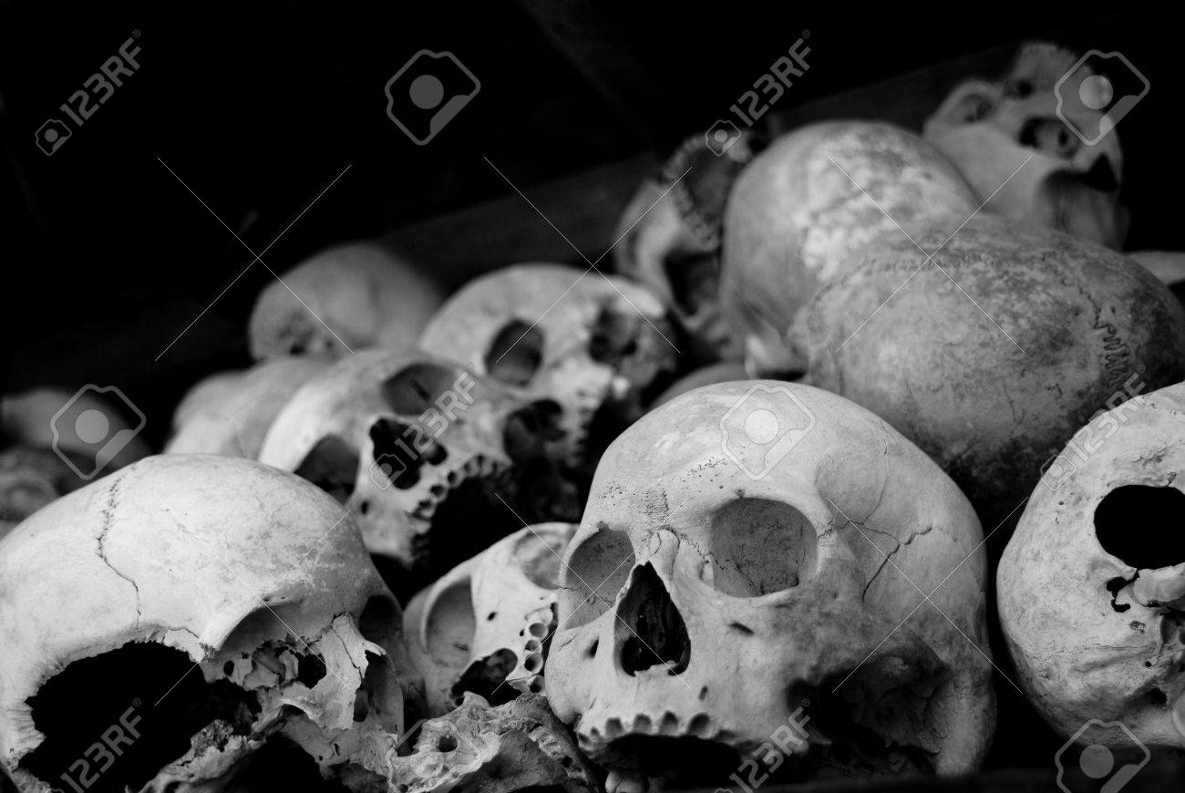 many skull in a cambodia museum named killing field - 3255839