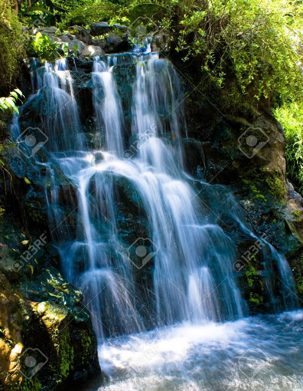 Relaxing landscaping waterfall in a green tropicl botanic garden - 3411735