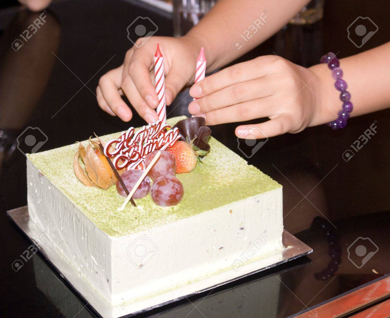 Fresh Green Tea Birthday Cake With Candle Stock Photo Picture And