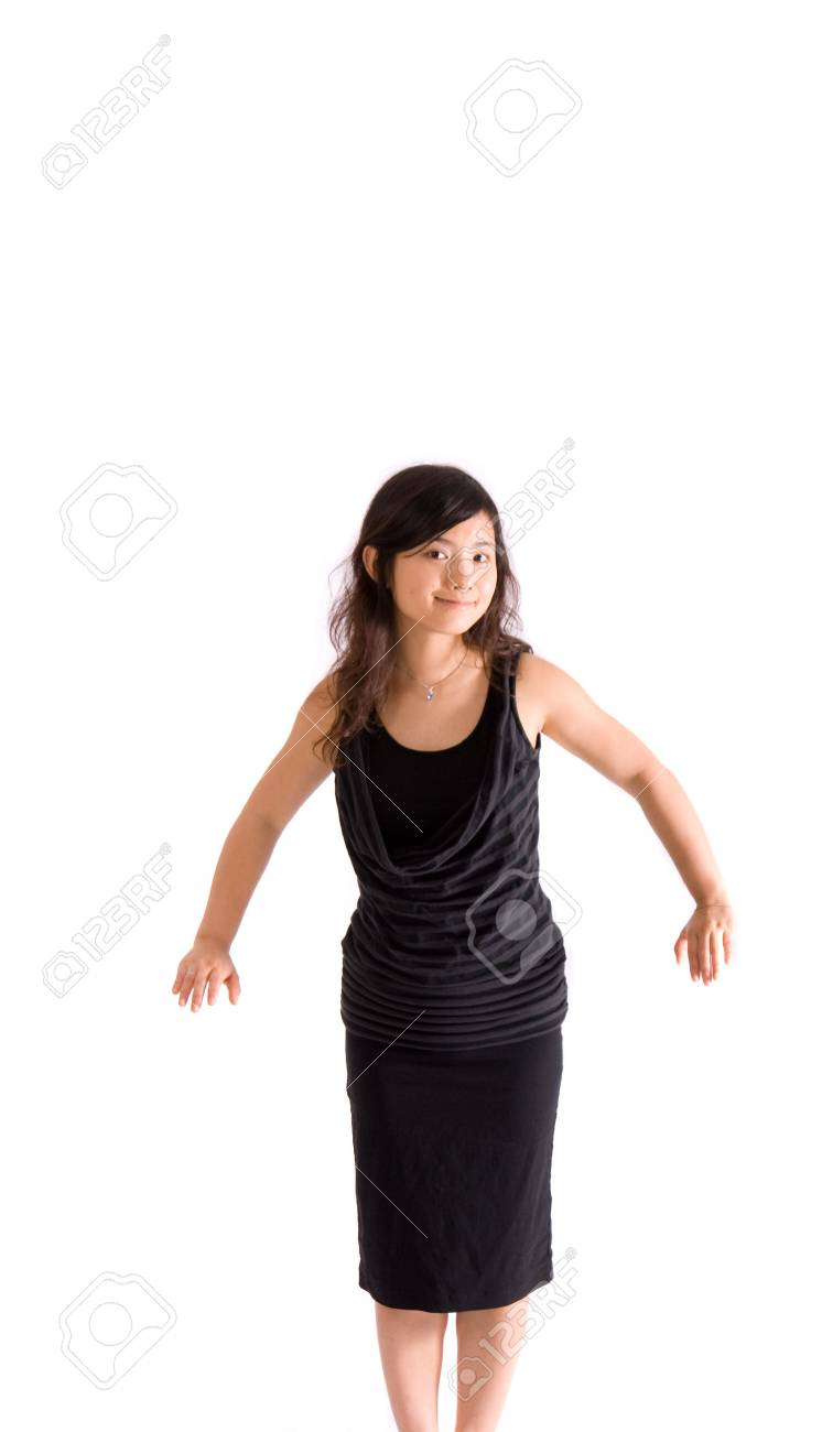 chinese girl standing with head lower down Stock Photo - 3991388