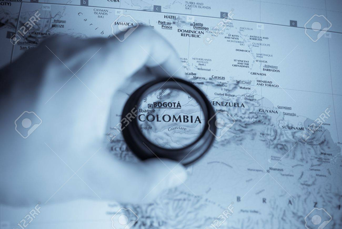 Selective focus on antique map of Colombia - 4019490