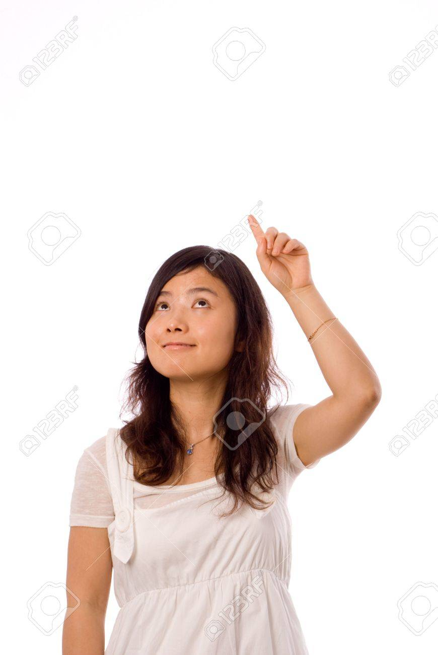 chinese girl pointing to the sky in left hand - 4038870