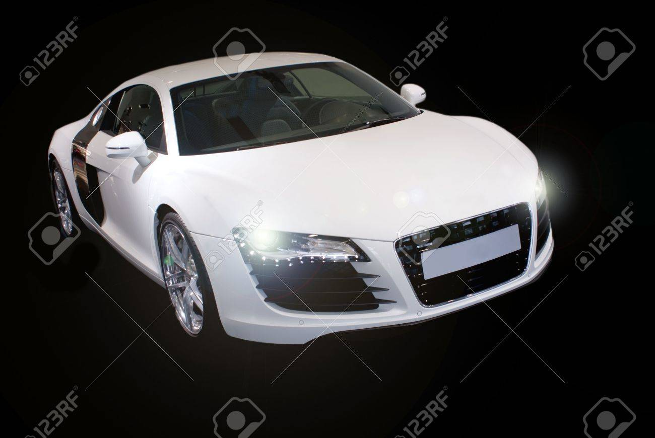 fancy sports car isolated on black background - 4300643