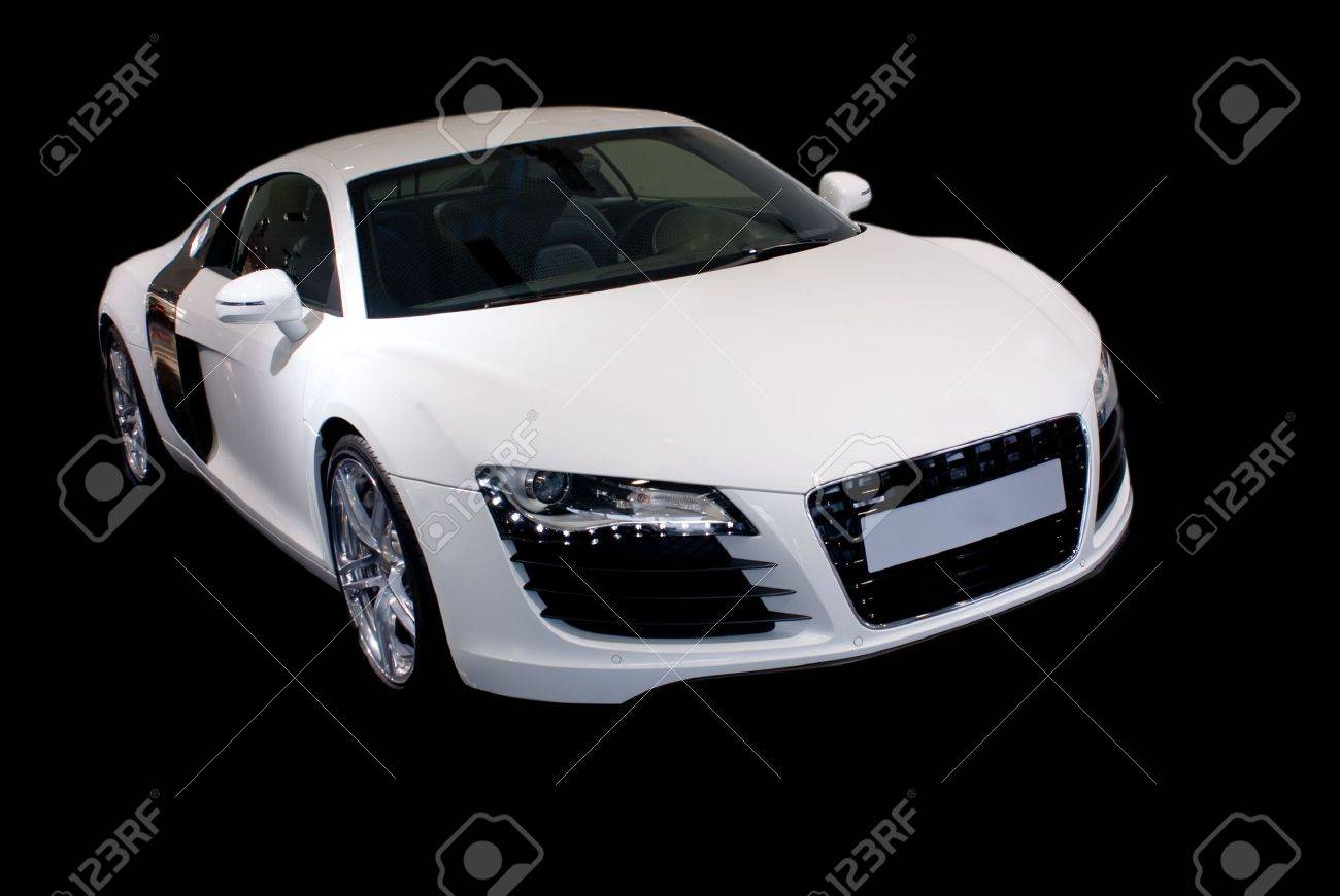 fancy sports car isolated on black background - 4299825