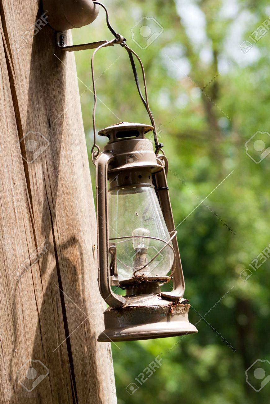 Antique Lamp Hang On The Natural Tree Branch Stock Photo Picture
