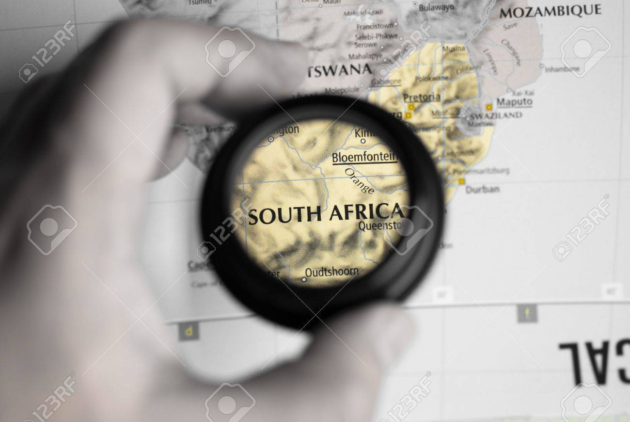 Selective focus on antique map of South Africa - 4715291