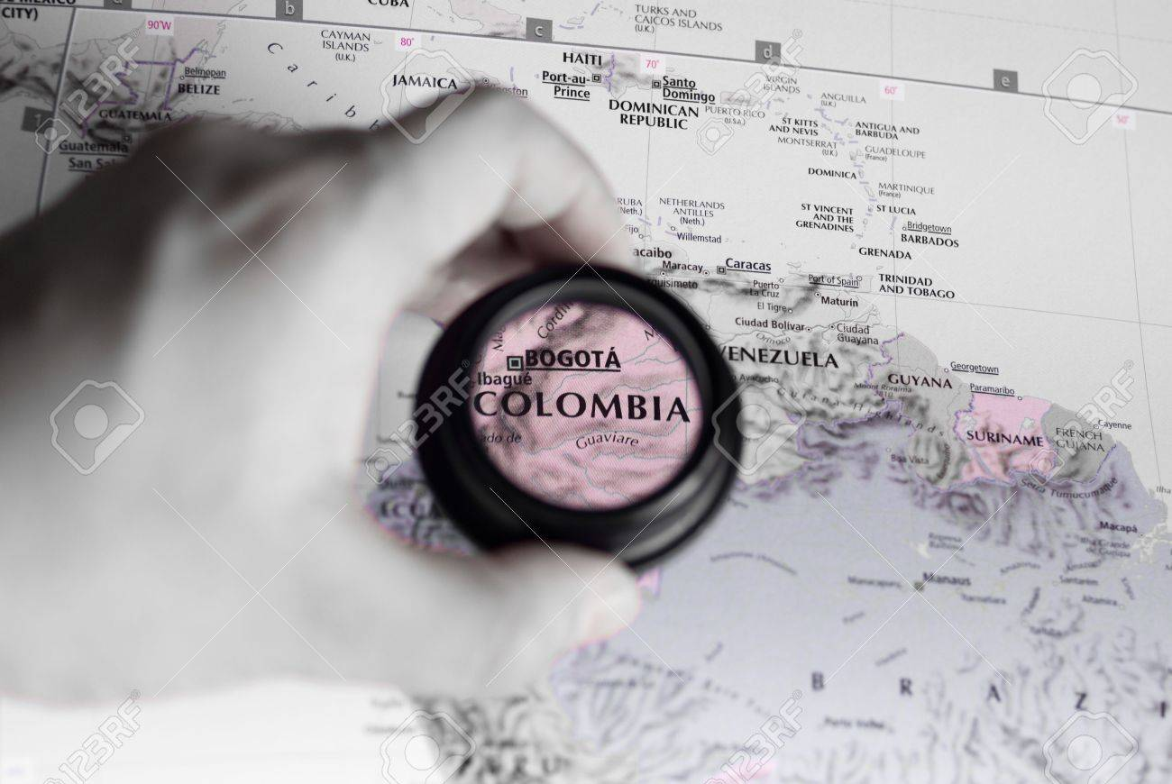 Selective focus on antique map of Colombia - 4747851