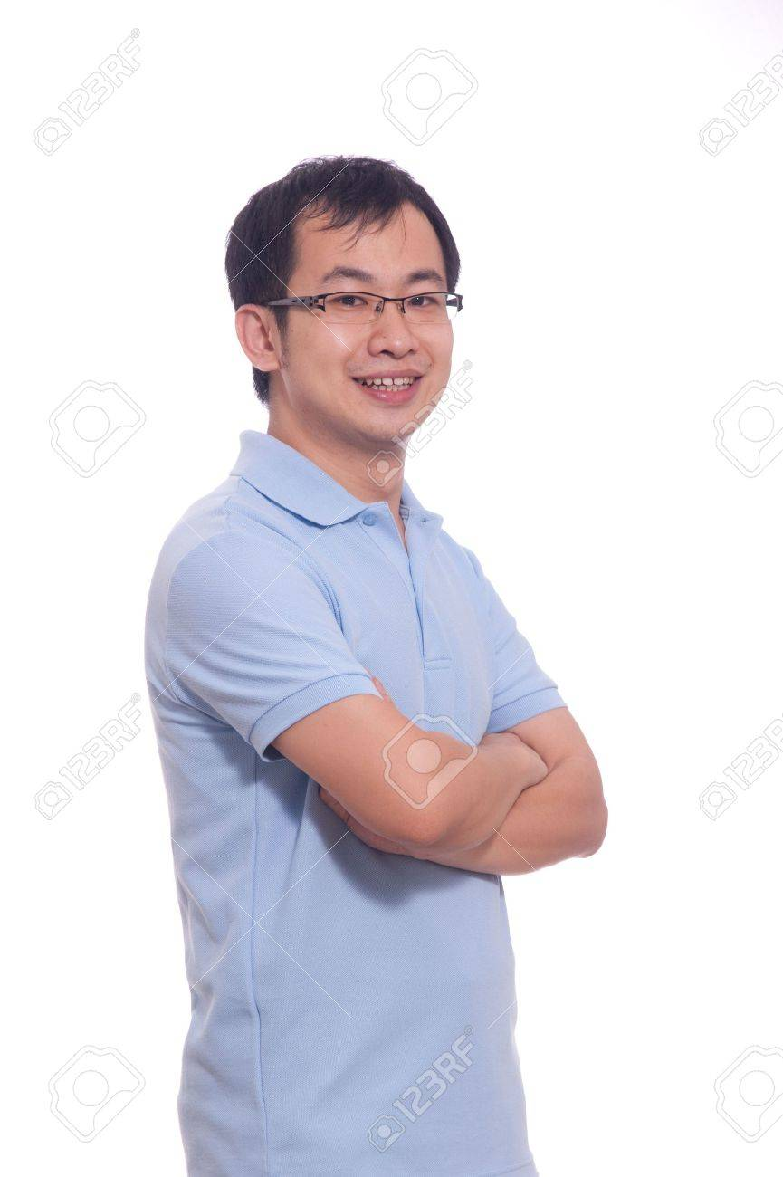 Confident chinese young male in blue polo shirt - 6006275