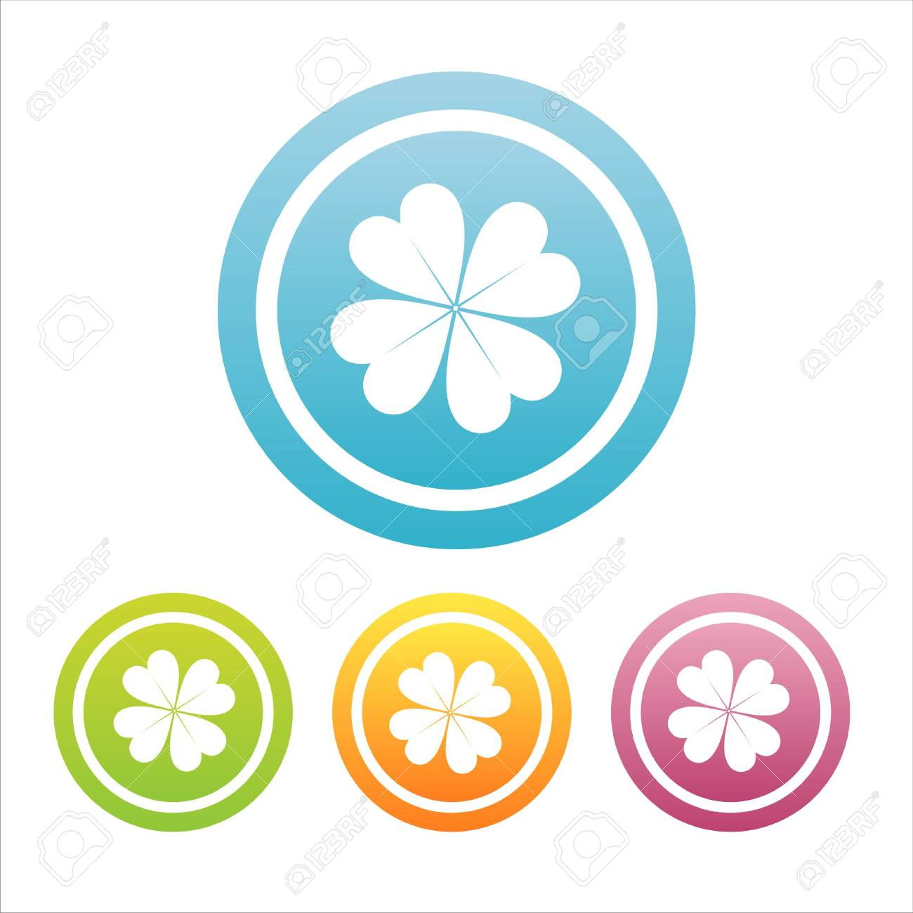 set of 4 colorful clover signs Stock Vector - 7537991