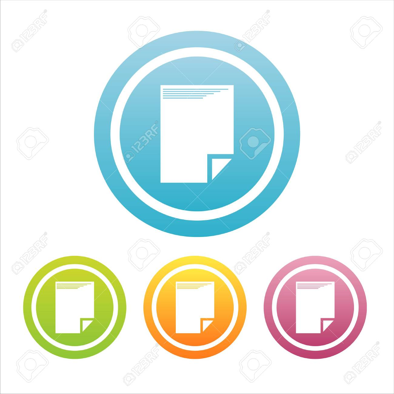set of 4 colorful document signs Stock Vector - 7537942