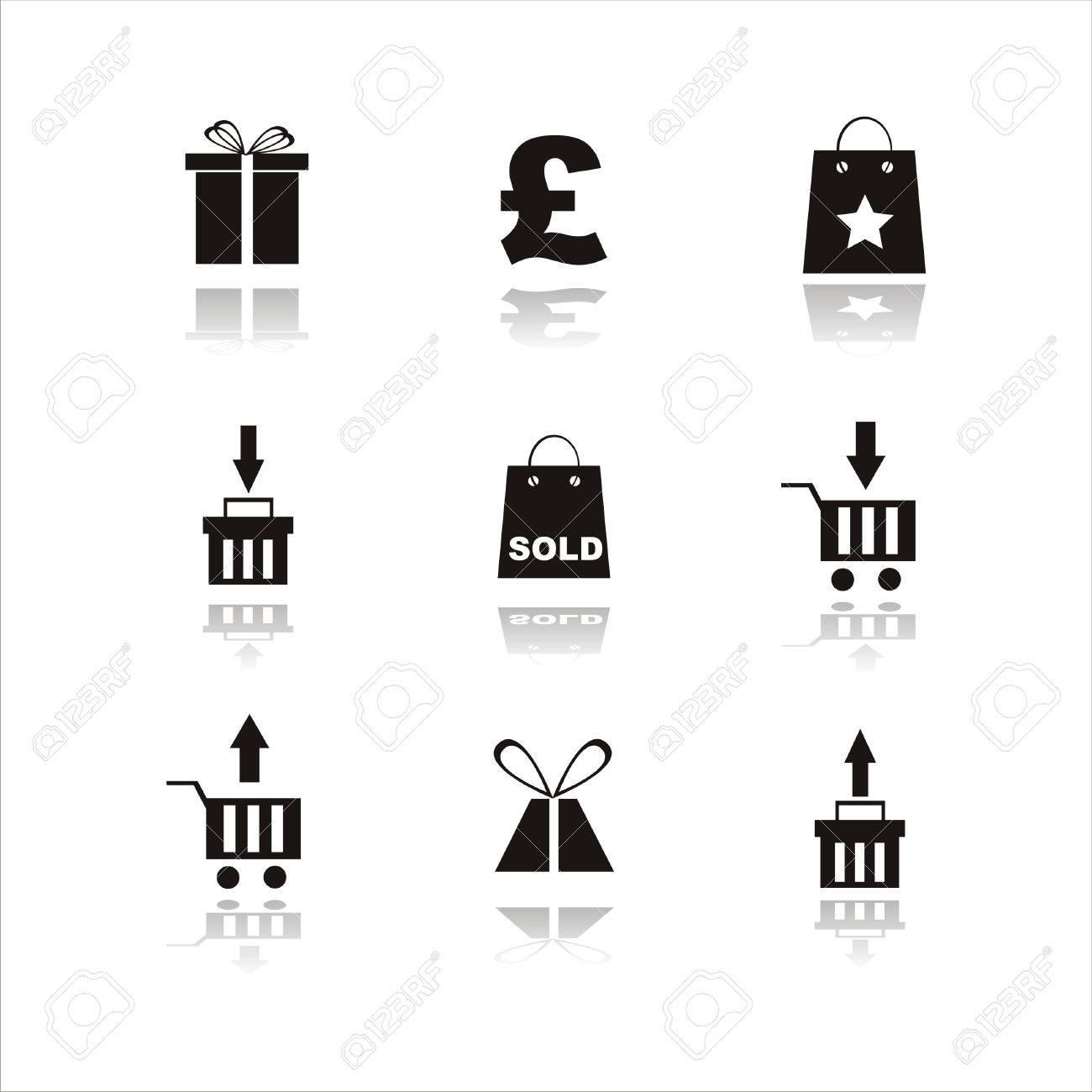 set of 9 shopping black icon Stock Vector - 7538099