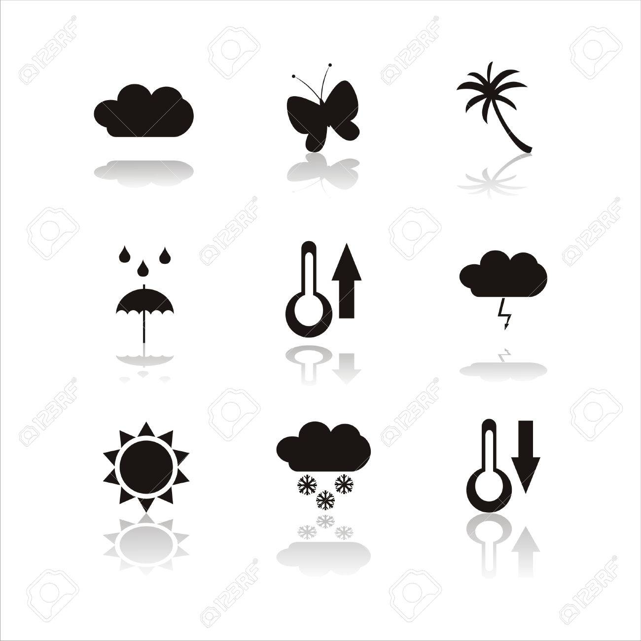 set of 9 black nature icons Stock Vector - 7571983