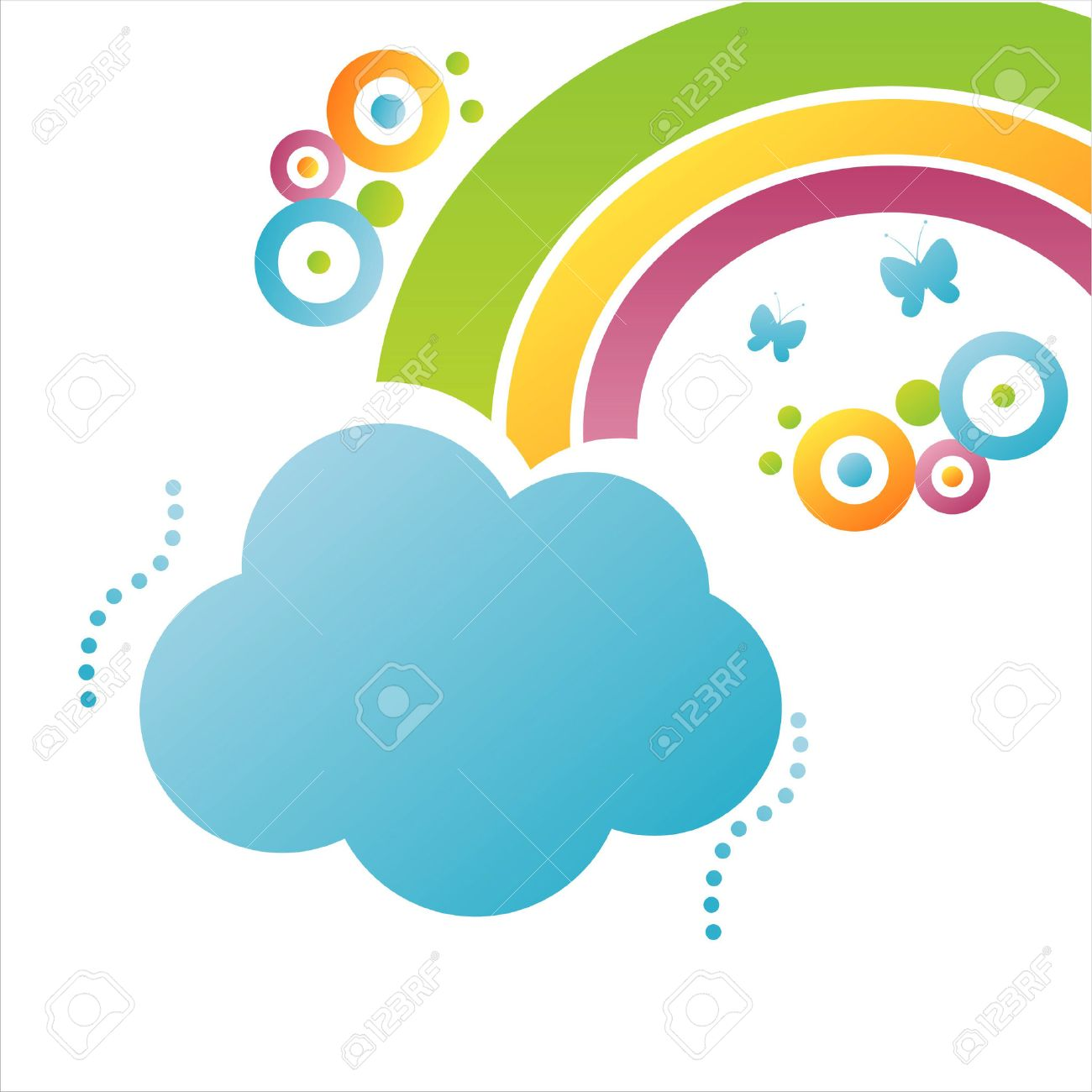 colorful cloud background with rainbow Stock Vector - 7571087