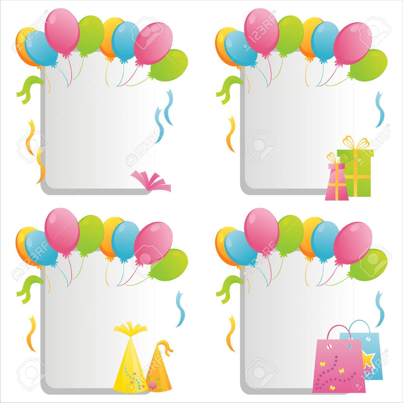 Set Of 4 Birthday Frames Royalty Free Cliparts Vectors And Stock