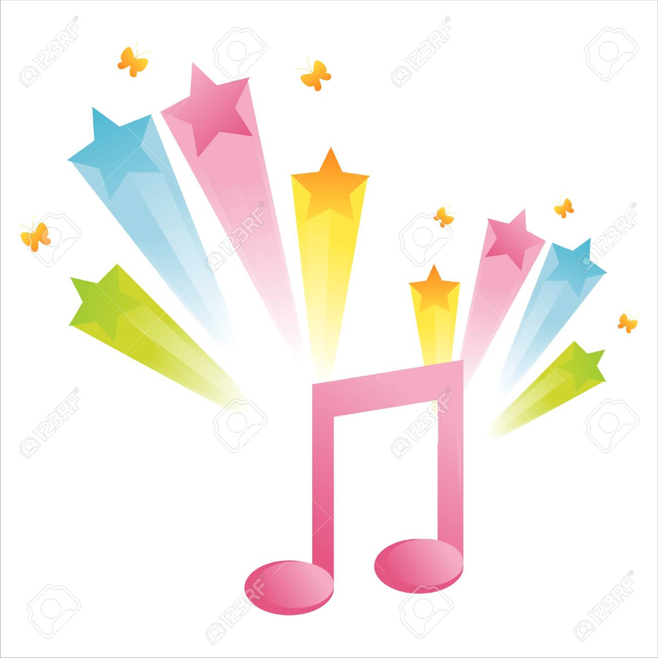 musical note with star splash Stock Vector - 7724618