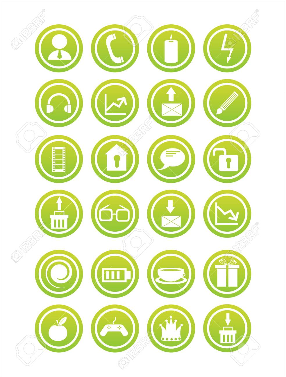 set of 21 web green signs Stock Vector - 7726268