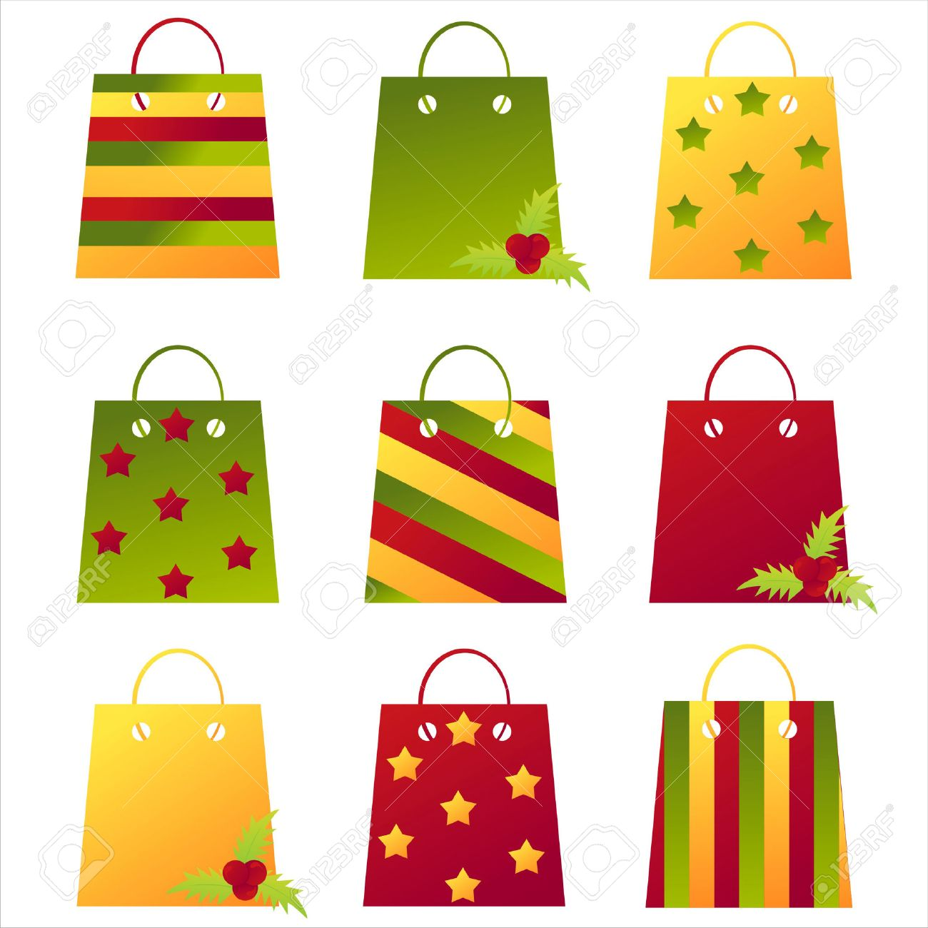 Set Of 9 Christmas Shopping Bags Royalty Free Cliparts, Vectors ...