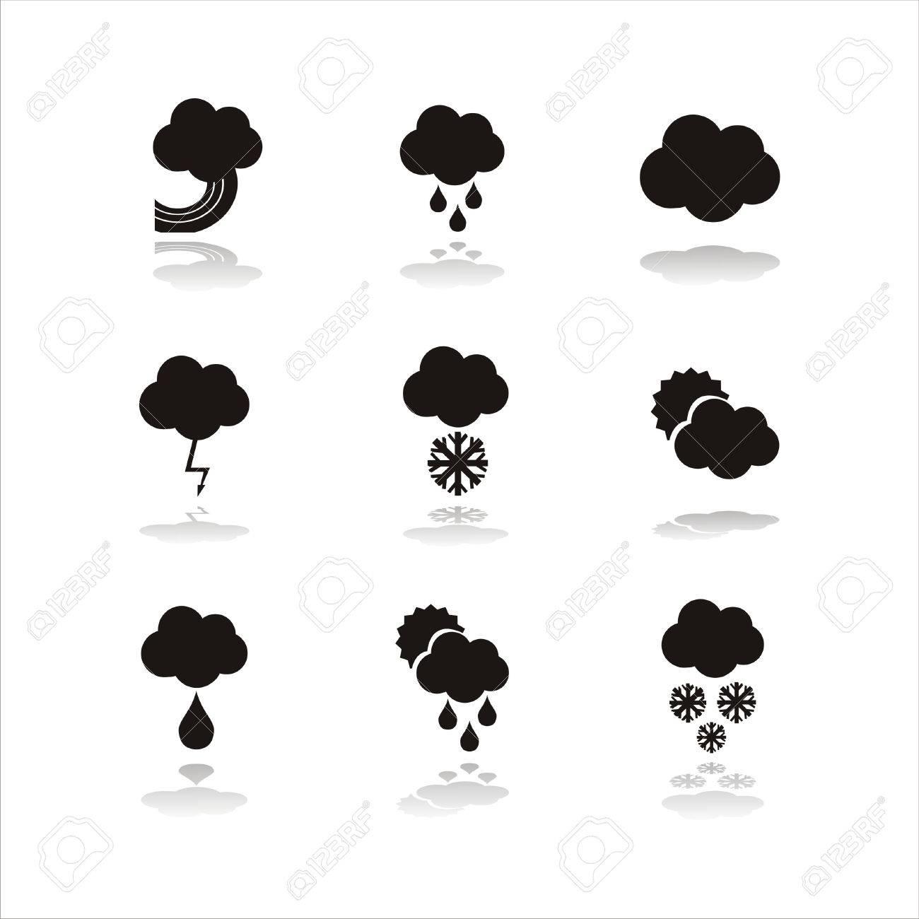 set of 9 black weather icons - 8127270