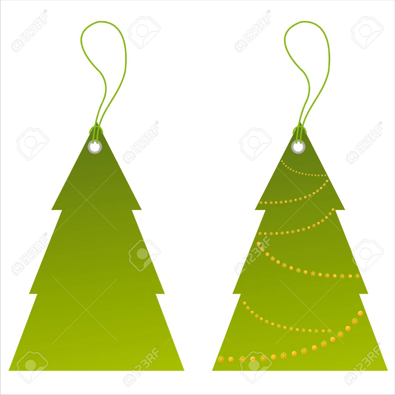 set of 2 christmas tree tags Stock Vector - 8286065